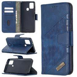 BinfenColor BF04 Color Block Stitching Crocodile Leather Case Cover for Samsung Galaxy A21s - Blue