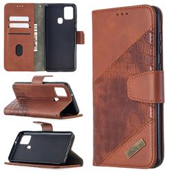 BinfenColor BF04 Color Block Stitching Crocodile Leather Case Cover for Samsung Galaxy A21s - Brown
