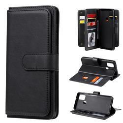Multi-function Ten Card Slots and Photo Frame PU Leather Wallet Phone Case Cover for Samsung Galaxy A21s - Black