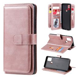 Multi-function Ten Card Slots and Photo Frame PU Leather Wallet Phone Case Cover for Samsung Galaxy A21s - Rose Gold