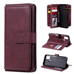 Multi-function Ten Card Slots and Photo Frame PU Leather Wallet Phone Case Cover for Samsung Galaxy A21s - Claret