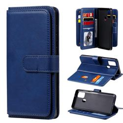 Multi-function Ten Card Slots and Photo Frame PU Leather Wallet Phone Case Cover for Samsung Galaxy A21s - Dark Blue