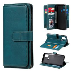 Multi-function Ten Card Slots and Photo Frame PU Leather Wallet Phone Case Cover for Samsung Galaxy A21s - Dark Green