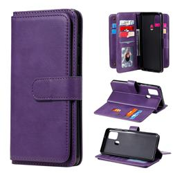 Multi-function Ten Card Slots and Photo Frame PU Leather Wallet Phone Case Cover for Samsung Galaxy A21s - Violet