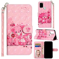 Pink Bear 3D Leather Phone Holster Wallet Case for Samsung Galaxy A21s