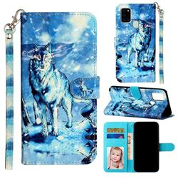 Snow Wolf 3D Leather Phone Holster Wallet Case for Samsung Galaxy A21s