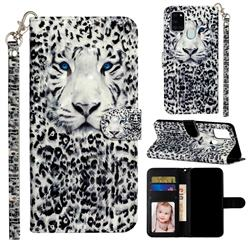 White Leopard 3D Leather Phone Holster Wallet Case for Samsung Galaxy A21s