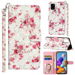 Rambler Rose Flower 3D Leather Phone Holster Wallet Case for Samsung Galaxy A21s