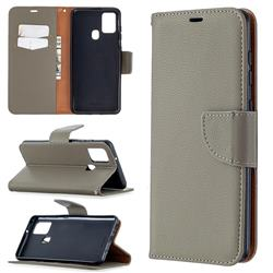 Classic Luxury Litchi Leather Phone Wallet Case for Samsung Galaxy A21s - Gray