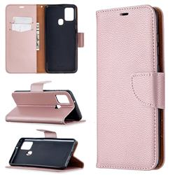 Classic Luxury Litchi Leather Phone Wallet Case for Samsung Galaxy A21s - Golden