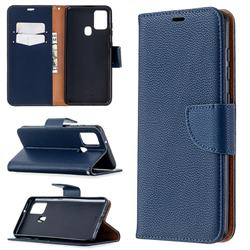 Classic Luxury Litchi Leather Phone Wallet Case for Samsung Galaxy A21s - Blue