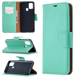 Classic Luxury Litchi Leather Phone Wallet Case for Samsung Galaxy A21s - Green