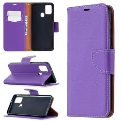 Classic Luxury Litchi Leather Phone Wallet Case for Samsung Galaxy A21s - Purple