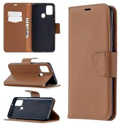Classic Luxury Litchi Leather Phone Wallet Case for Samsung Galaxy A21s - Brown