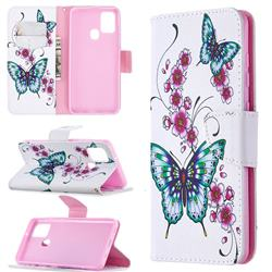 Peach Butterflies Leather Wallet Case for Samsung Galaxy A21s
