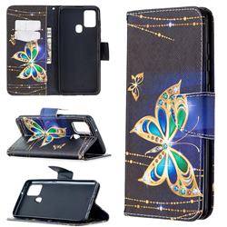 Golden Shining Butterfly Leather Wallet Case for Samsung Galaxy A21s