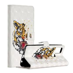 Toothed Tiger 3D Painted Leather Phone Wallet Case for Samsung Galaxy A21s