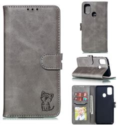 Embossing Happy Cat Leather Wallet Case for Samsung Galaxy A21s - Gray