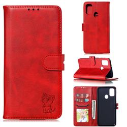 Embossing Happy Cat Leather Wallet Case for Samsung Galaxy A21s - Red