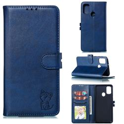 Embossing Happy Cat Leather Wallet Case for Samsung Galaxy A21s - Blue