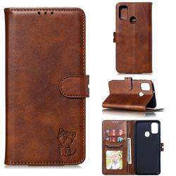 Embossing Happy Cat Leather Wallet Case for Samsung Galaxy A21s - Brown