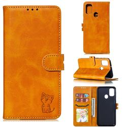 Embossing Happy Cat Leather Wallet Case for Samsung Galaxy A21s - Yellow