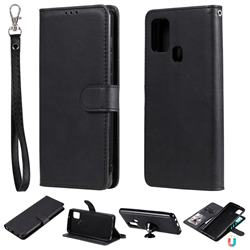 Retro Greek Detachable Magnetic PU Leather Wallet Phone Case for Samsung Galaxy A21s - Black