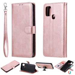 Retro Greek Detachable Magnetic PU Leather Wallet Phone Case for Samsung Galaxy A21s - Rose Gold