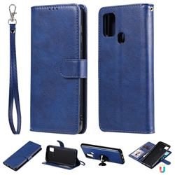 Retro Greek Detachable Magnetic PU Leather Wallet Phone Case for Samsung Galaxy A21s - Blue