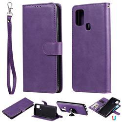 Retro Greek Detachable Magnetic PU Leather Wallet Phone Case for Samsung Galaxy A21s - Purple