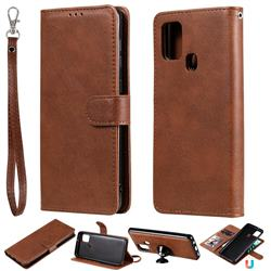 Retro Greek Detachable Magnetic PU Leather Wallet Phone Case for Samsung Galaxy A21s - Brown