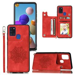 Luxury Mandala Multi-function Magnetic Card Slots Stand Leather Back Cover for Samsung Galaxy A21s - Red