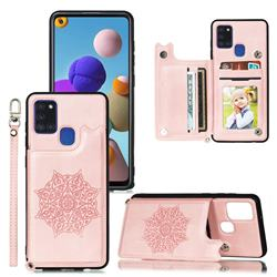 Luxury Mandala Multi-function Magnetic Card Slots Stand Leather Back Cover for Samsung Galaxy A21s - Rose Gold