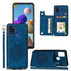 Luxury Mandala Multi-function Magnetic Card Slots Stand Leather Back Cover for Samsung Galaxy A21s - Blue