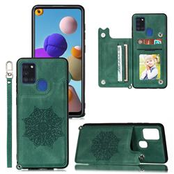 Luxury Mandala Multi-function Magnetic Card Slots Stand Leather Back Cover for Samsung Galaxy A21s - Green