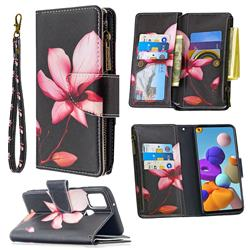Lotus Flower Binfen Color BF03 Retro Zipper Leather Wallet Phone Case for Samsung Galaxy A21s