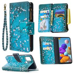 Blue Plum Binfen Color BF03 Retro Zipper Leather Wallet Phone Case for Samsung Galaxy A21s
