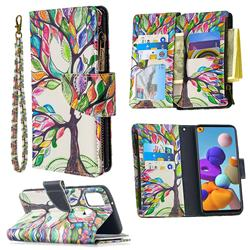 The Tree of Life Binfen Color BF03 Retro Zipper Leather Wallet Phone Case for Samsung Galaxy A21s