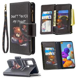 Chainsaw Bear Binfen Color BF03 Retro Zipper Leather Wallet Phone Case for Samsung Galaxy A21s