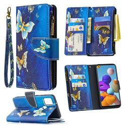 Golden Butterflies Binfen Color BF03 Retro Zipper Leather Wallet Phone Case for Samsung Galaxy A21s