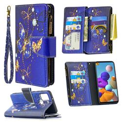 Purple Butterfly Binfen Color BF03 Retro Zipper Leather Wallet Phone Case for Samsung Galaxy A21s