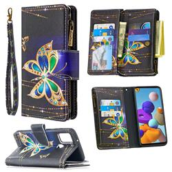 Golden Shining Butterfly Binfen Color BF03 Retro Zipper Leather Wallet Phone Case for Samsung Galaxy A21s