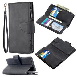 Binfen Color BF02 Sensory Buckle Zipper Multifunction Leather Phone Wallet for Samsung Galaxy A21s - Black