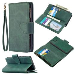 Binfen Color BF02 Sensory Buckle Zipper Multifunction Leather Phone Wallet for Samsung Galaxy A21s - Dark Green