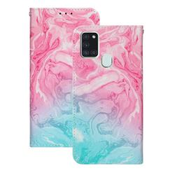 Pink Green Marble PU Leather Wallet Case for Samsung Galaxy A21s
