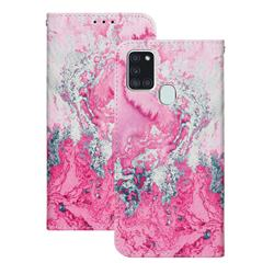 Pink Seawater PU Leather Wallet Case for Samsung Galaxy A21s