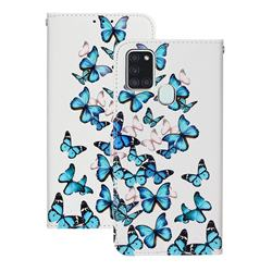 Blue Vivid Butterflies PU Leather Wallet Case for Samsung Galaxy A21s