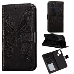 Intricate Embossing Vivid Butterfly Leather Wallet Case for Samsung Galaxy A21s - Black