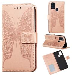 Intricate Embossing Vivid Butterfly Leather Wallet Case for Samsung Galaxy A21s - Rose Gold