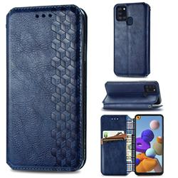 Ultra Slim Fashion Business Card Magnetic Automatic Suction Leather Flip Cover for Samsung Galaxy A21s - Dark Blue